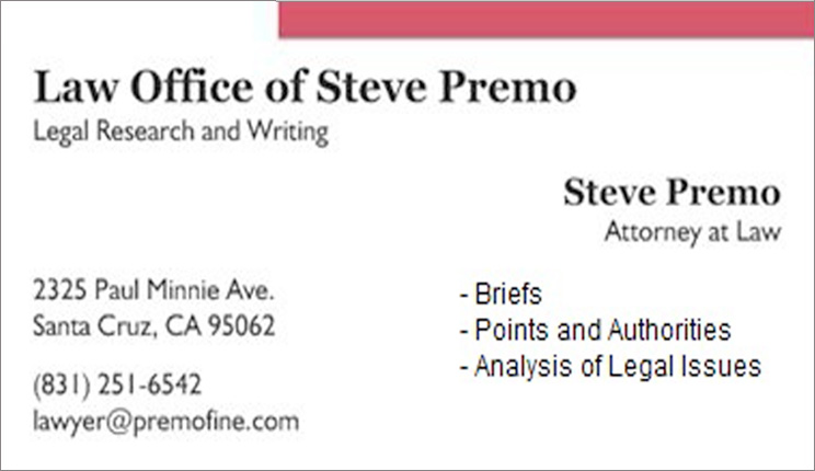Law Office of Steve Premo, Legal Research and Writing, Steve Premo, Attorney at Law